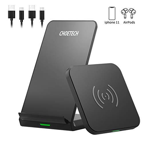 Cargador Inalámbrico Rápido CHOETECH[2 Unidades],Wireless Charger Qi Soporte carga rapida para iPhone…