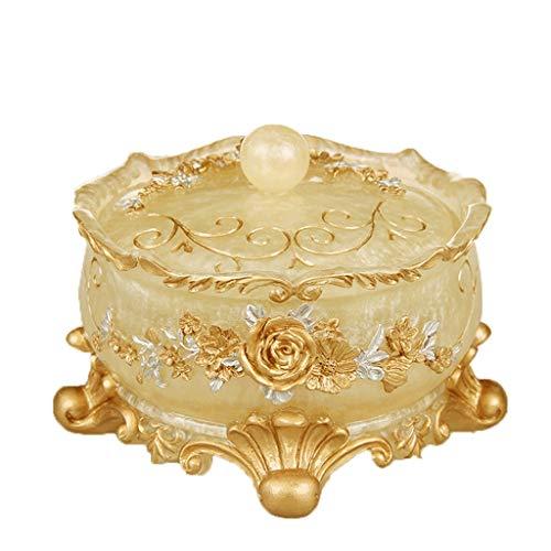 Personalidad Europea Cenicero Creativo cenicero Grande Vaso de Cristal con Tapa, Dormitorio Regalos de decoración Sala de Mesa de café Sala de Estar, Mesa, Oficina (Color : Gold)
