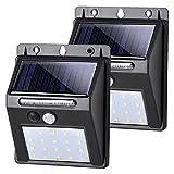 SALCAR Luce Solare LED Esterno, LED Luci Solari LED da Esterno con Sensore di Movimento, Illuminazione Wireless Lampada, IP65 Luce Led Solare per Giardino, Parete, 2 Pezzi