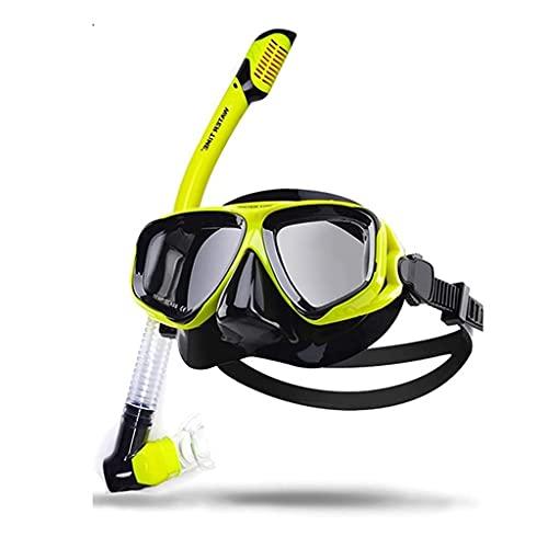 AWJ Máscaras de Buceo Traje de esnórquel Gafas de Buceo para Adultos Esnórquel seco Unisex Panorámico Multicolor Equipo de esnórquel (Color: H)