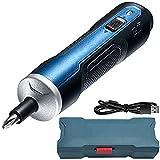 Cacciavite Elettrico 3,6V, Set di Cacciaviti Intelligenti, Strumento Blu Senza Fili con 6 Regolazioni di Coppia Batteria 1,5Ah (5Nm 360RPM), per Avvitamento e Fissaggio Fai da Te