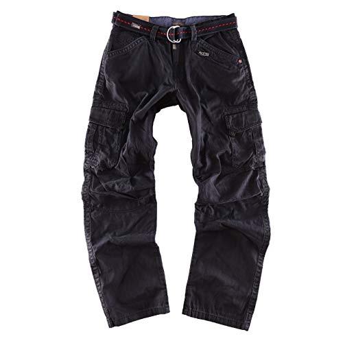 Timezone Herren Relaxed Hose BenitoTZ schwarz Cargo Pants incl. Belt W34/L34