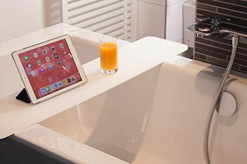 BAS - BATH ACCESSOIRES Badewannenablage Verona | besonderes Ultimatives Verwöhnerlebnis | Perfekte Größe für Jede Badewanne | Hochwertig | einzigartiges Design | 87 cm x 20 x 1 cm