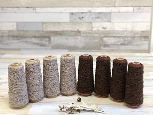 可愛いカラフル糸 8本セット #600チョコレートブラウン #382ネップ入りキナリ 太さ1/3.8 100g 編み物 手芸 ハンドメイド ウール糸 糸