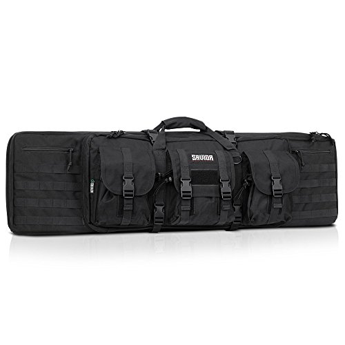 Savior Equipment American Classic Tactical Double Long Rifle Pistol Gun Bag Firearm Transportation Case w/Backpack - 42 Inch Obsidian Black