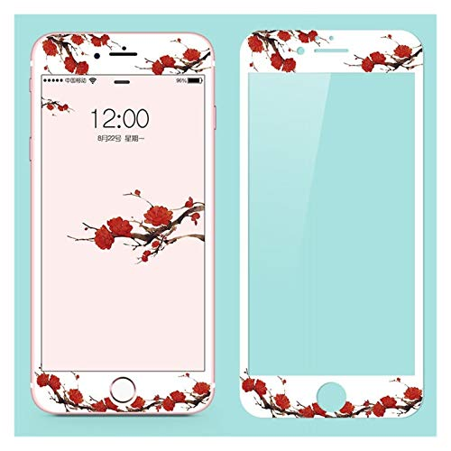 liutao Screen Protector Cute Tempered Glass Phone Cases Compatible with iPhone 6 6s 7 8 Plus Flower Bird Pattern Scratchproof Screen Protector Glass Case Tempered Film