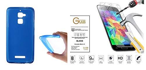 compatibile Schutzhülle für Asus Zenfone 3 Max ZC520TL ZC520TC X008D 5.2 Schutzhülle aus weichem TPU-Silikongel + Bildschirmschutzfolie aus gehärtetem Glas stoßfest 9H kratzfest (blau)