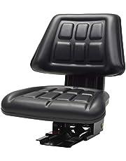 mewmewcat Asiento del Tractor Suspensión Resistente PVC Resistente Al Agua 48 x 50 x 59 cm Negro