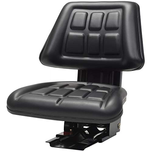 Festnight- Asiento de Tractor con Suspensión Tapicería de PVC Negro 48 x 50 x 59 cm