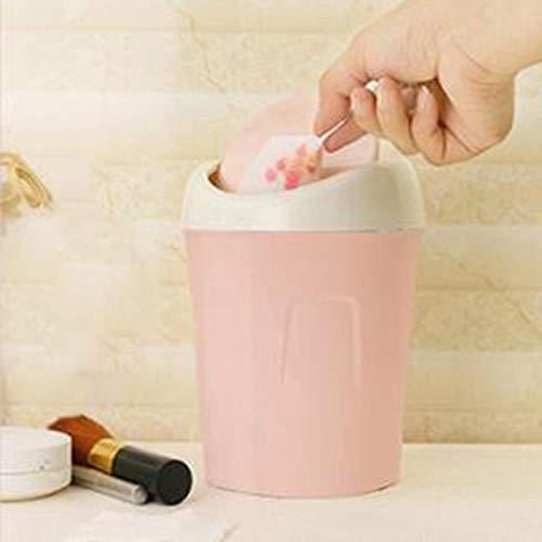 JUECAN Mini kleine draagbare Bin cover creatieve bureau vuilnisbak mooie Bad Office afvalmand, roze