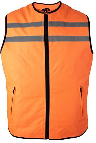 MDM Motorrad Sicherheitsweste mit Taschen (in 2 Farben verfügbar) (L, Neon Orange)