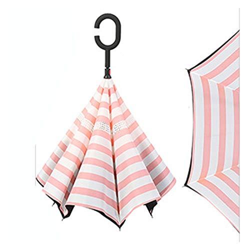 GFHD Reverse Regenschirm Regen Frauen Doppelschicht Umkehrbarer Regenschirm Sonnenschirm Winddicht Regen Invertierte Regenschirme Für Frauen Männer 317 (Color : J)