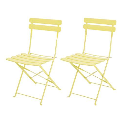 2 Sedie Pieghevoli in Metallo Set di Sedie da Giardino Balcone Terraza Sala da Pranzo Senza Montaggio e Salvaspazio ecc 38x42x81cm (Bianco)