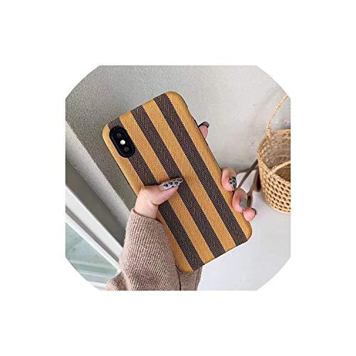 Doek Shell Pak Grid Telefoonhoesje voor iPhone 6 6s 7 8 Plus hoesjes Zachte Siliconen Stof Textiel voor iPhone X XS Max XR Achterhoes, voor iPhone Xs, Blauw, ForiPhoneXS, Geel