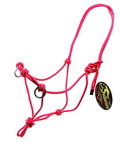 Southwestern Equine Side Pull Rope Halters with Nickle Plated Rings (Horse, Pink)