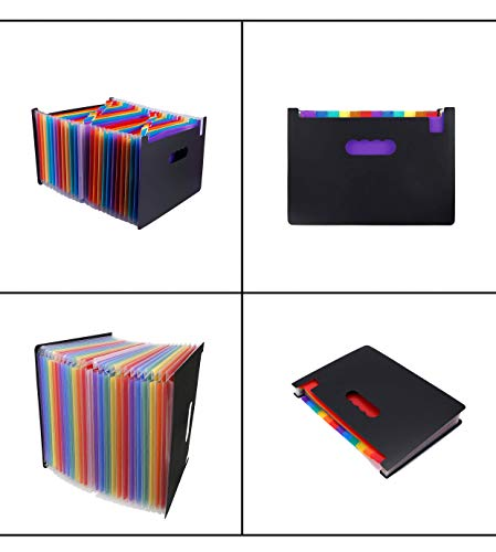 24 Pockets Expanding File Folder Multicolored A4 Size Expandable File Organizer Accordion Stand File Folder Wallet Briefcase Receipt Organizer No Cover (Multicolored,24 Pockets) Photo #2