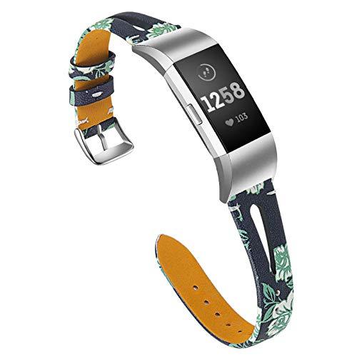 XIALEY Pulsera De Cuero Compatible con Fitbit Charge 2, Correas De Repuesto De Cuero Genuino Banda Deportiva Estampado Floral Brazalete De Reloj Accesorios para Charge 2 Fitness Tracker,D