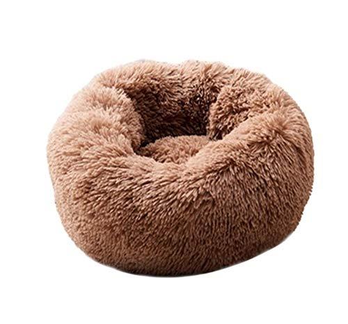 YSJ LTD Super Soft hondenbed wasbaar lange pluche hondenmand Deep Sleep Dog House Velvet Mats Sofa voor hond Chihuahua hondenmand hondenbed XL 80 cm coffee