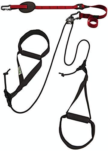 eaglefit Sling-Trainer Allround Elastic, Fitnessgerät, Schlingentrainer inkl. Umlenkrolle, Längenverstellung 90-310 cm, für Profis & Beginner, Rubin rot