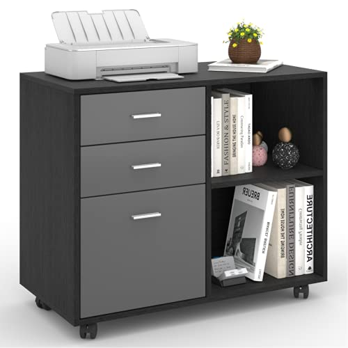 File Cabinet with Drawer & Shelves | Williamspace | Later Office File Cabinets for Printer/Scanner | Home Office File Cabinet on Wheels (Black Oak + Dark Grey)