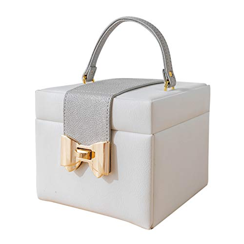LANFENG Jewelry Storage Box Artificial Leather Jewelry Box Built-In Mirror Lockable Small Makeup And Accessories Storage Box Birthday Gift Wedding Gift (White)