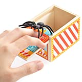 Wooden Spider Prank Box - Scary Surprise Halloween Party Favor - Fake Jumping Rubber Bug Toy - Realistic Practical Joke - Classic Gag Gift for Friends and Family - Fun Handcrafted Novelty Present
