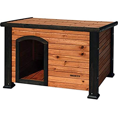 Petmate Precision Pet Weather-Resistant Log Cabin Dog House with Adjustable Feet, Natural Wood, Medium
