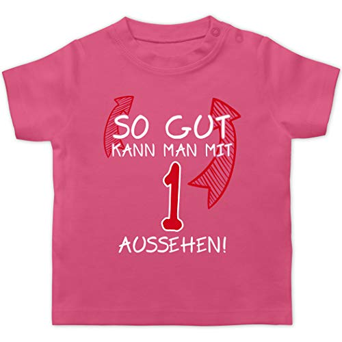 Geburtstag Baby - So gut kann Man mit 1 Aussehen - 12/18 Monate - Pink - erster Geburtstag Junge - BZ02 - Baby T-Shirt Kurzarm