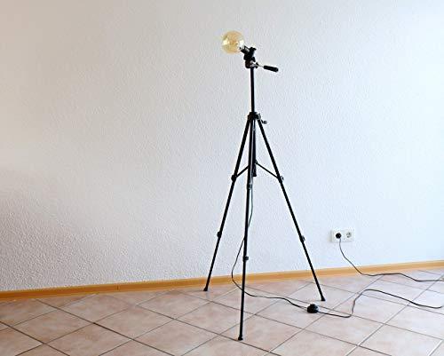 Upcycling Stativlampe, Edison LED Lampe, Boho Stehlampe, moderne Vintage Leuchte aus einem Fotostativ