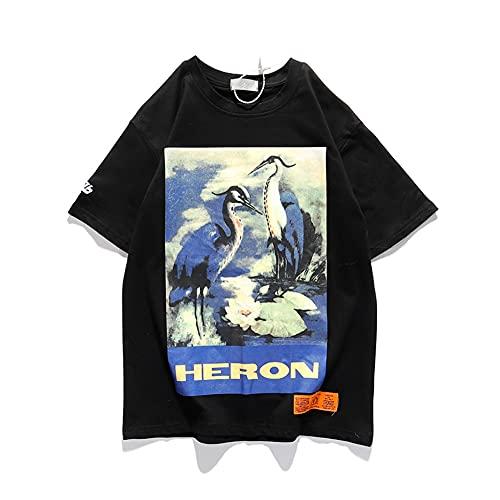 HP Blue Crane camiseta impresión manga corta camiseta hombres mujeres hip-hop BF estilos algodón camiseta negro