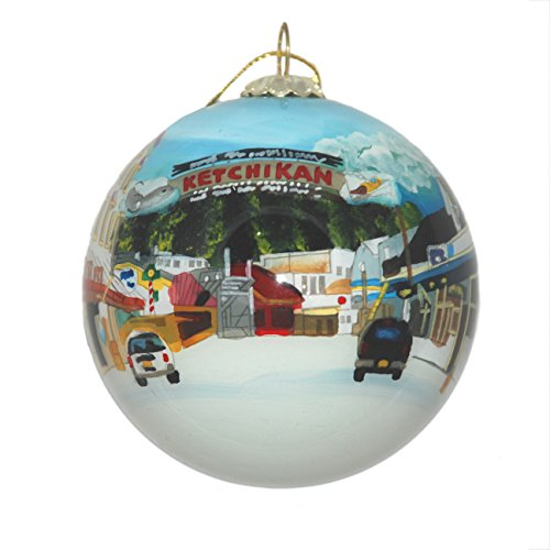 Hand Painted Glass Christmas Ornament - Ketchikan Alaska