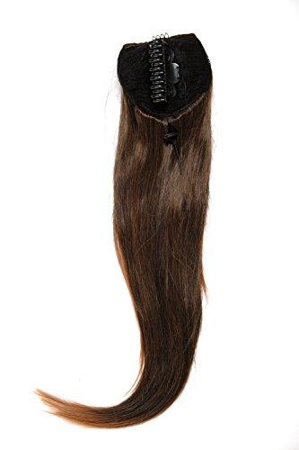 WIG ME UP - Postiche queue de cheval/natte volumineuse lisse tombante mini-pince-papillon élastique env. 60 cm mélange brun-noir WK06-2T30