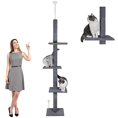"Reeple 108"" Tall Cat Tree House Activity Towers Scratching Post Condos Climbing Tiger Tough Kitten Furniture Pet Perches Play Adjustable Height"