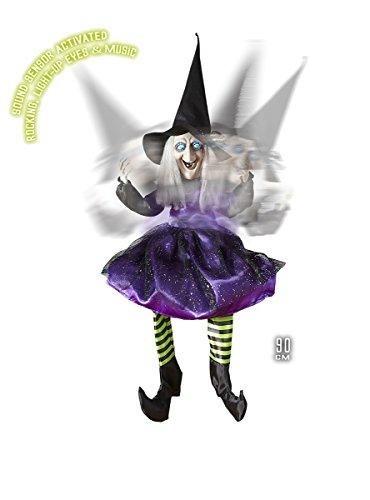 Widmann vd-wdm01412 sorcière séance animée Bascule avec Yeux Lumineux, Violet, Taille Unique