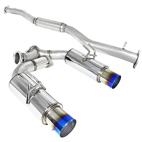 Spec-D Tuning Dual Catback Exhaust System Titanium Tip for 2008-2015 Mitsubishi Lancer Evo X