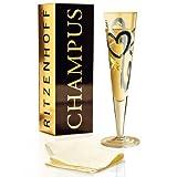 RITZENHOFF Champus Champagnerglas von Thomas Marutschke, aus Kristallglas, 200 ml, mit edlen Gold-...