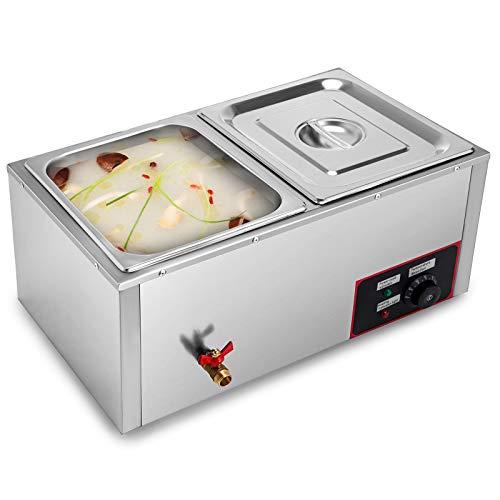 GIOEVO 220V Scaldavivande Professionale a 2 Vassoi Scaldavivande Elettrico Scaldavivande a Buffet in Acciaio Inossidabile da 850W Scaldavivande per Catering e Ristoranti (2 Pentole)