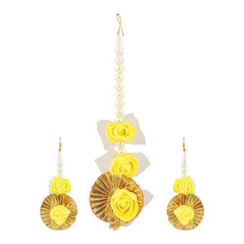 Efulgenz Indian Flower Jewelry Set for Haldi...