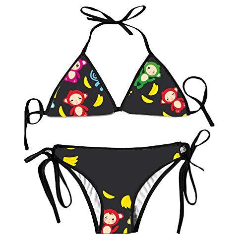 Bikini Swimsuit for Women Two Pieces Cartoon Monsters Funny High Cut Padded Bikini