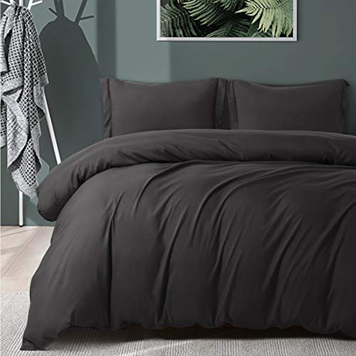 RYONGII Dark Gray Duvet Cover Set King Size with Zipper Closure, Hotel Quality Wrinkle and Fade Resistance, Solid Color Super Soft - 3 Pieces - 1 Microfiber Duvet Cover Matching 2 Pillowcases