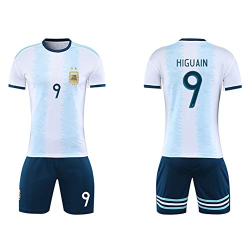 CHSC # 10 Messi Fußballuniform # 9 Higuaín Trikot Set, 11 Di María Nationalmannschaft Uniform Kurzarm Shorts Trainingsanzug für Männer Kind Geschenk White(#9)-22