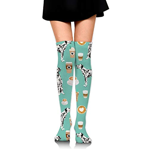 Women's Fashion Novelty Thigh High Socks Over the Knee Stockings Knee High Boot Socks Leg Warmer - Dalmatians Cute Mint Coffee Best Dalmatian Dog