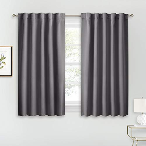 RYB HOME Blackout Curtains for Bedroom - Thermal Insulated Light Block Window Curtains, Rod Pocket & Back Tab Top Kitchen Curtain Panels, Wide 42 x Long 45, Grey, 1 Pair