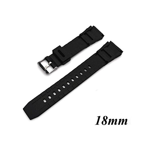 FXCO Silikon Kautschuk Uhrenarmband Band Aufstellungsknopf Taucher wasserdicht 18mm - 22mm (18mm)