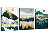 Mountain Forest Wall Art Nordic Style Abstract Canvas Pictures Contemporary Wall Decor Canvas Artwork for Living Room Bedroom Home Office Decoration 12' x 16' x 3 Pieces