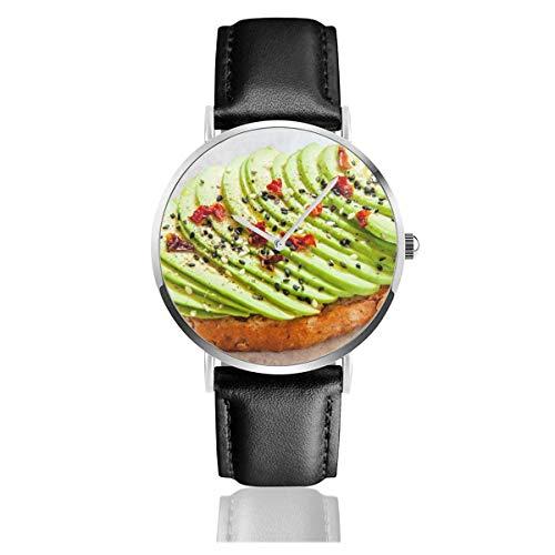 Geschnittene Avocado auf Toastbrot Gewürze Essen und Trinken Schwarzes Quarzwerk Lederarmbanduhren Armbanduhren