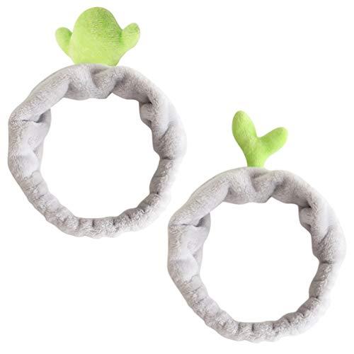 Minkissy - Cinta para la frente, diseño de cactus para yoga, yoga, deporte o ducha, cinta para el pelo, turbante para niñas y mujeres, 2 unidades