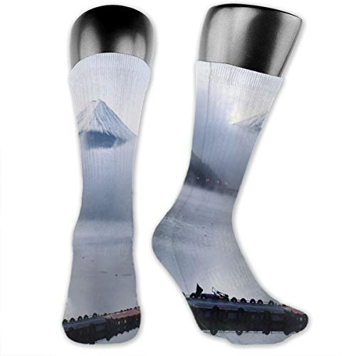 Papalikz Compression Medium Calf Socks,Mountain Peaks Foggy Clouds Over Kawaguchi Lake Hazy