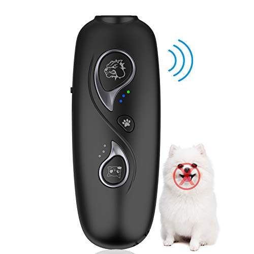 MEECHOO Rechargeable Ultrasonic Dog Barking Deterrent Devices with 700mah Built-in Battery,Dog Bark Control Device,2 in 1 Dog Behavior Training Tool,Frequency Conversion Anti Barking Device