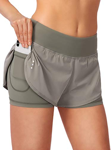 Women's 2 in 1 Running Shorts Workout Athletic Gym Yoga Shorts for Women with Pockets Green